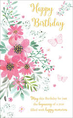 Birthday Card Female Pink Florals