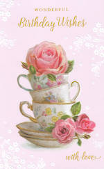 Birthday Card Female Stacked Tea Cup