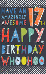 Birthday Age Card 17 Male Tall Text
