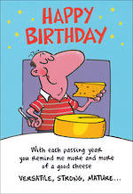 Humorous Birthday Card Roar Hum Good Cheese