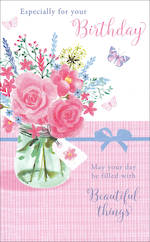 Birthday Card Female Willow Floral Vase