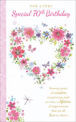 Birthday Age Card 70 Female Tall Heart