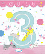 Birthday Age Card 3 Girl Animals