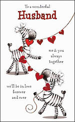 Husband Birthday Card Cute Zebras
