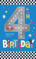 Birthday Age Card 4 Boy Race Car On Track