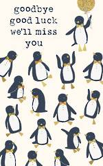 Goodbye Card Tall Penguins