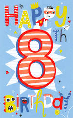 Birthday Age Card 8 Male Tall Stripes