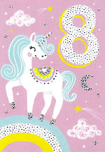 Birthday Age Card 8 Girl Unicorn Rainbow