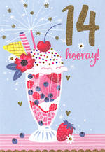 Birthday Age Card 14 Female Sundae