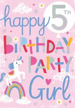 Birthday Age Card 5 Girl Party Unicorn