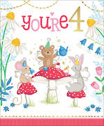 Birthday Age Card 4 Girl Animal Tea Party