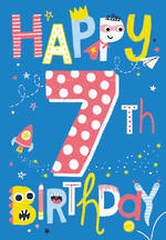 Birthday Age Card 7 Boy Neon Birthday