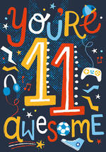 Birthday Age Card 11 Boy You're Awesome