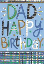 Dad Birthday Card Text Blue Plaid