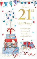 Birthday Age Card 21 Male Present Pile