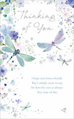 Sympathy Card Thinking Of You Dragonflies