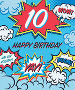 Birthday Age Card 10 Boy Comic Explosions