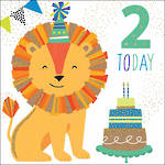 Birthday Age Card 2 Boy Party Lion