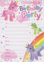 Party Invite Girl Unicorns
