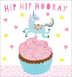 Mini Card Birthday Juvenile Unicorn Cupcake