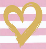 Mini Card Blank Heart Pink Stripe