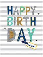 Jumbo Card All 4 One Male Birthday Stripe