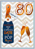 Birthday Age Card 80 Male Copper Script Pop