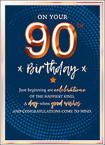 Birthday Age Card 90 Male Copper Script