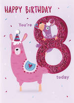 Birthday Age Card 8 Girl Party Llama
