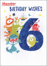 Birthday Age Card 6 Boy Monster Birthday Wishes
