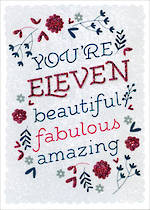 Birthday Age Card 11 Girl Beautiful Fabulous