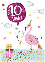 Birthday Age Card 10 Girl Flamingo & Balloon