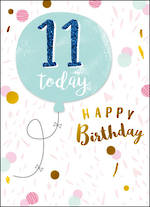 Birthday Age Card 10 Girl Floating Balloon