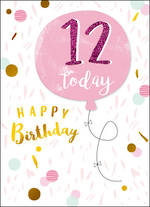Birthday Age Card 12 Girl Pink Balloon