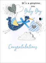 Baby Card Boy Irresistible Baby Boy Stork