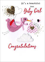 Baby Card Girl Irresistible Baby Girl Stork