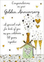 Anniversary Card 50th Gold Just To Say Your