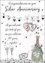Anniversary Card Just To Say 25th Silver
