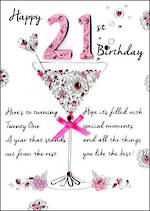 Birthday Age Card 21 Female Just To Say