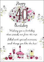 Birthday Age Card 40 Female Just To Say