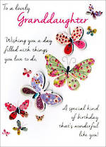 Grandaughter Birthday Card Just to Say Butterfly