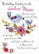 Mum Birthday Card Just To Say Bird