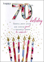 Birthday Age Card 70 Female Just To Say Candles