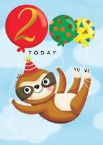 Birthday Age Card 2 Girl Sloth Balloons