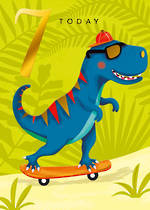 Birthday Age Card 7 Boy Skateboarding Dino