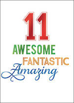 Birthday Age Card 11 Boy Awesome Fantastic
