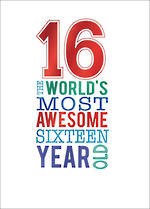 Birthday Age Card 16 Male Script Awesome