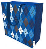Large Gift Bag Argyle Navy