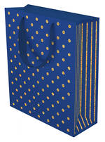 Medium Gift Bag Gold Dots Navy
