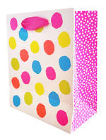 Small Gift Bag Fluro Dots On White
